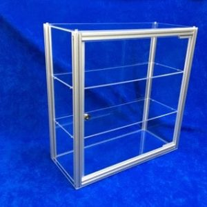 Tischvitrine abschließbar Acrylglas Alu